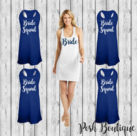 Bride Swimsuit Coverup, Bridesmaid Swim Cover Ups, Monogrammed Beach Coverup, Tank dress, Bridesmaid Gifts, Cruise, Wedding, Bachelorette - PoshBoutiqueInc