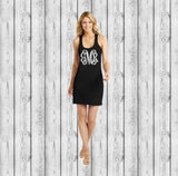 Monogram Swimsuit Coverup Monogrammed Bridesmaid Tank Dress, Bachelorette Swimsuit Coverups - PoshBoutiqueInc