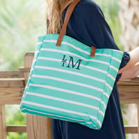 Stripe Tote Bag, Monogrammed Tote Bag, Mint Stripe Tote Bag, Monogrammed Totes, Bridesmaid Gifts, Personalized Gifts, Personalized Tote Bag - PoshBoutiqueInc