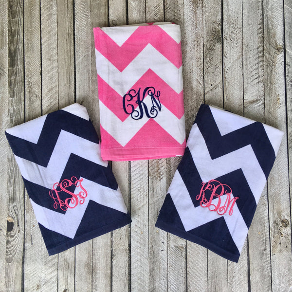 Monogrammed Beach Towels, Monogrammed gifts, Bridesmaid gifts, Monogram Beach Towel, Spring Break, Easter gifts - PoshBoutiqueInc
