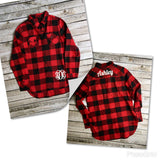 Monogram Flannel Shirt, Personalized Flannel Button Down, Bridesmaid Shirts, Woodland Wedding, Plaid Bridesmaid Shirts, Buffalo Plaid Shirts - PoshBoutiqueInc