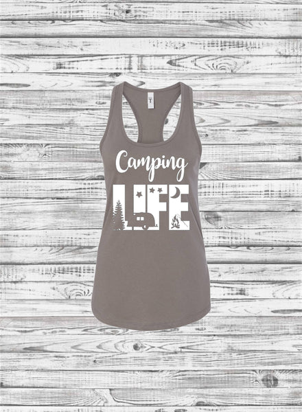 Camping Life Tank Top, Custom Tee Shirts, Camping Trip Shirts, Family Vacation Shirts, Girls Trip Shirts - PoshBoutiqueInc