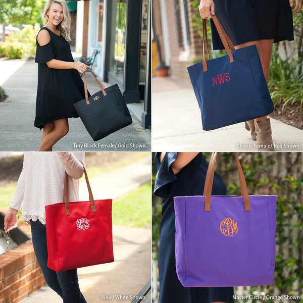 Monogrammed Tote Bag, Personalized Tote Bags, Monogrammed Gifts, Bridesmaid Gifts, Group Discounts, 8 Color Options, Tailgate Tote Bag - PoshBoutiqueInc