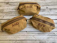 Monogrammed Dopp Kit, Groomsman Gifts, Father's Day Gifts, Monogrammed Toiletry Bag, Gifts for him, Canvas Leather Travel Kit - PoshBoutiqueInc