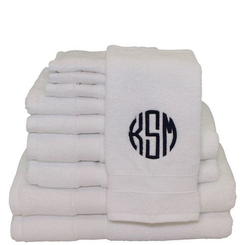 8 piece Monogrammed Bath Towel Set, Personalized Bath Towels, Housewarming Gifts, Monogrammed Gifts, Wedding Gifts - PoshBoutiqueInc