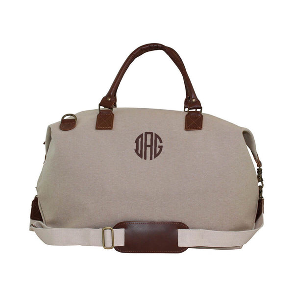 Monogrammed Weekender Bag, Oversized Weekender, Leather and Jute Weekender Bag, Monogrammed Weekend Canvas Bags - PoshBoutiqueInc