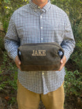 Monogrammed Dopp Kit, Personalized Groomsmen Gift, Gifts for Him, Toiletry Bag, Dopp Kit, Groomsmen Gift, Waxed Canvas Dopp Kit - PoshBoutiqueInc
