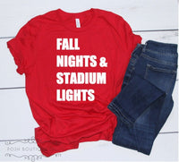Custom Football Shirts, Fall Nights Stadium Lights, Football Mom Shirt, Game Day Shirts, Ladies Football Shirt, Girls Football Shirt - PoshBoutiqueInc
