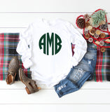 Monogram Shirt, Monogrammed long sleeve shirt, Gift Under 20, Gifts for Her, Girls Monogram Shirt, Ladies Monogram Shirt - PoshBoutiqueInc