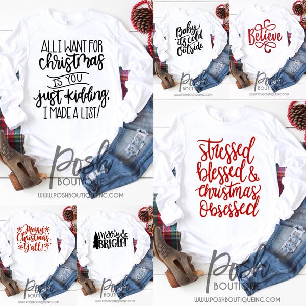 Boutique Christmas Shirts, Holiday Party Shirts, You Choose Design - PoshBoutiqueInc
