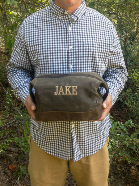 Personalized Waxed Canvas Dopp Kit, Groomsmen Toiletry Bag, Groomsmen Dopp Kit, Monogrammed Groomsmen Gift, Custom Gifts for Groomsmen - PoshBoutiqueInc
