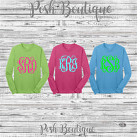 Monogram T Shirt with Hair Bow, Gifts for Girls, Monogrammed gifts, Personalized Shirt and Hair bow set, Monogrammed Long Sleeve Shirt - PoshBoutiqueInc
