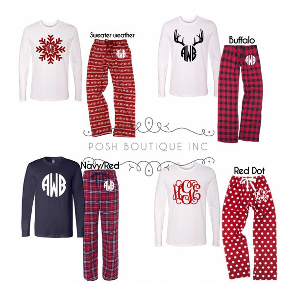 Family Pajama Set, Christmas Pajama Set, Monogrammed Pajama Set, Family Pajamas, Christmas Pajamas, Free Shipping Christmas Pajamas - PoshBoutiqueInc