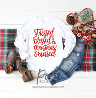 Stressed, Blessed, Christmas Obsessed Shirt, Funny Christmas Shirts, Holiday Party Shirts, You Choose Design - PoshBoutiqueInc