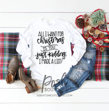 All I want for Christmas Shirt, Funny Christmas Shirts, Holiday Shirts, Christmas Party Shirts, You Choose Design, Ladies Christmas Shirt - PoshBoutiqueInc