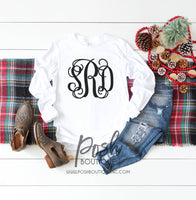 Long Sleeve Monogram Shirt, Monogram Tee Shirts for Girls and Women, Gift for Her, Gift under 20 - PoshBoutiqueInc