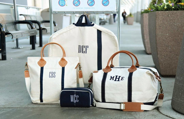 Monogrammed Luggage Set, Weekender Bag, Garment Bag, Cosmetic Bag, and Carry On Flight Bag, Personalized Luggage, Luxury Travel Set - PoshBoutiqueInc