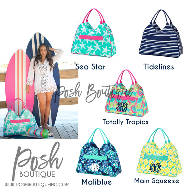 Monogrammed Beach Bag, Weekender Bag, Bridesmaid Gifts, Bridal Shower Gifts, Group Discounts, Jumbo Beach Bags - PoshBoutiqueInc