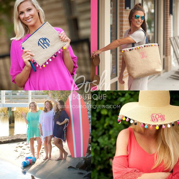 Monogrammed Burlap Tote Bag, Burlap Clutch, Pom Pom Floppy Hat, Pom-tastic Swimsuit Coverup, Pom-tastic Collection - PoshBoutiqueInc
