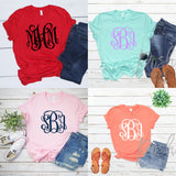 Monogram Shirt, Monogrammed Tee Shirts for Ladies and Girls, Personalized Shirt, Custom Tee Shirts - PoshBoutiqueInc