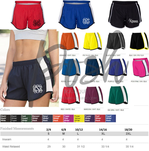 Monogrammed Running Shorts Monogram Gifts Personalized Shorts Bridesmaid gifts Cheer Shorts Personalized Birthday Cheerleader Shorts - PoshBoutiqueInc