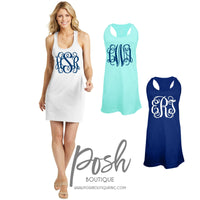 Monogrammed Swimsuit Coverup, Custom Tank dress, Bridesmaid Tank, Beach cover up, Bachelorette, Bridesmaid Gifts - PoshBoutiqueInc