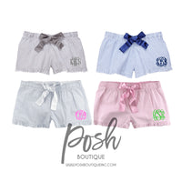 Monogrammed Seersucker Shorts, Monogram Shorts, Ruffle Seersucker Shorts, Monogram Seersucker Pajamas, Monogrammed gifts, Bridesmaid Gifts - PoshBoutiqueInc