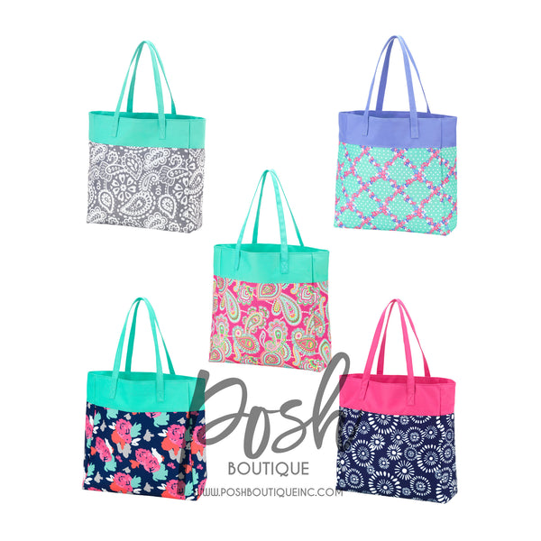 Monogram Tote Bag, Monogrammed Tote Bags for Girls, Flower Girl Gifts, Bridesmaid Gifts, Personalized Tote Bags, Group Discounts - PoshBoutiqueInc