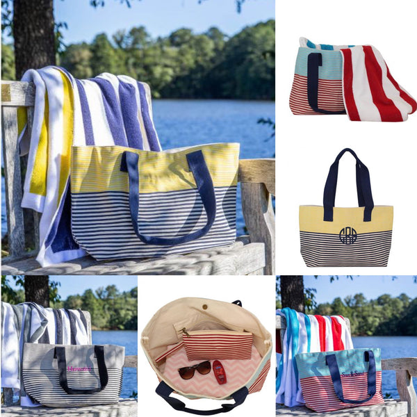 Monogrammed Beach Bag, Canvas Beach Tote, Monogrammed Gifts, Bridesmaid gifts, Monogram Beach Totes, Oversized Beach Bag - PoshBoutiqueInc