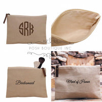 Monogrammed Cosmetic Bag, Monogrammed Jute Clutch, Bridesmaid Gifts, Women's Makeup Bag, Gifts under 10 - PoshBoutiqueInc