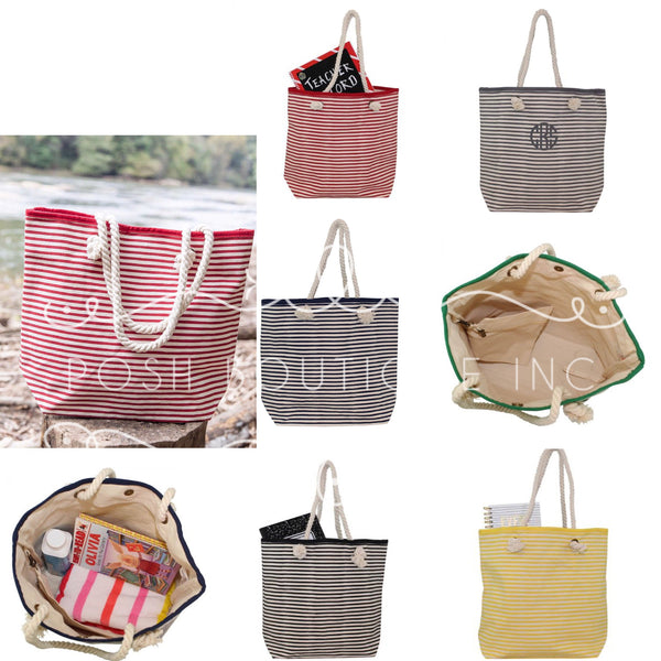 Monogrammed Tote Bag, Canvas Tote, Rope Tote Bag, Monogrammed Gifts, Bridesmaid gifts, Personalized Totes, Oversized Tote Bag - PoshBoutiqueInc