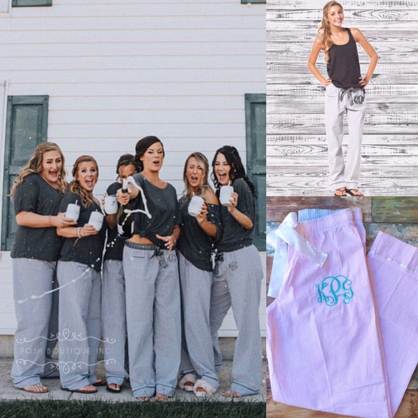 Monogrammed Pajamas, Bachelorette Party Gifts, Bridesmaid Gifts, Monogrammed Pajama Pants, Seersucker Pajama Pants - PoshBoutiqueInc