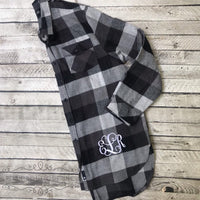 Monogram Flannel Shirts, Monogram Button Down, Monogrammed Shirt, Bridesmaid Shirts, Plaid Flannel Tunic Shirt, Plaid Bridesmaid Shirts - PoshBoutiqueInc