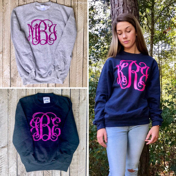 Monogrammed Sweatshirts, Monogrammed Fleece Pullover Sweater for Women and Girls, Gifts under 20, Free Shipping, Sweatshirt Sale - PoshBoutiqueInc