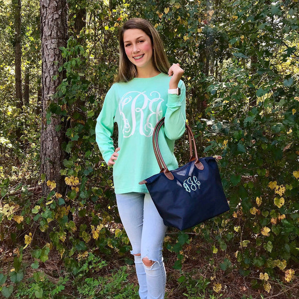 Monogram Long Sleeve T-shirt, Monogrammed Tee Shirts for Women and Girls, Monogram Gifts Under 20 - PoshBoutiqueInc
