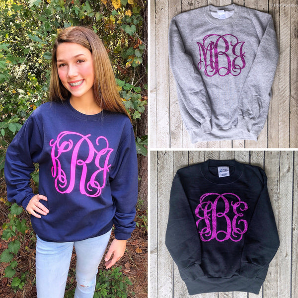 Monogram Sweatshirt - Monogrammed Pullover Sweater - Gifts for Her Under 20 - Girls and Women Sweatshirts - PoshBoutiqueInc