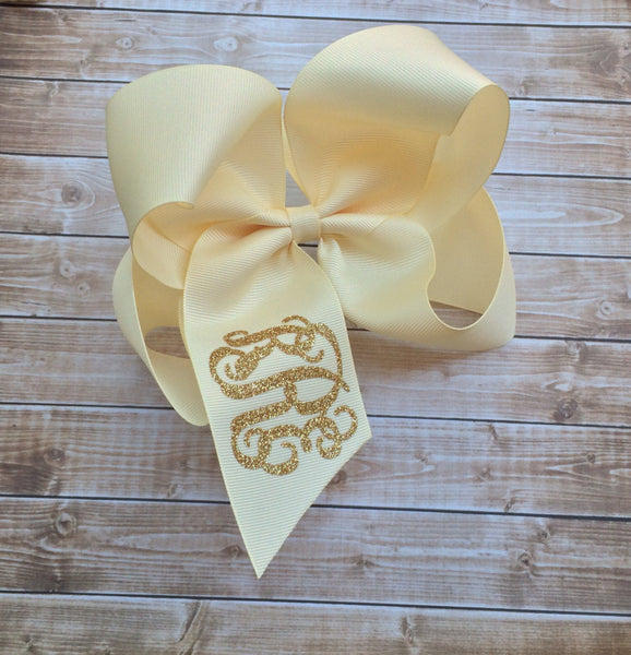 Monogram Hair Bow, Monogrammed hair bows, Christmas Hair bow, Monogram hair bows, Big Cheer Bows, Hair Bows for Girls, - PoshBoutiqueInc