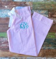 Monogrammed Seersucker Pajama Pants, Seersucker Pajamas, Bridesmaid Pajamas, Personalized Pajamas - PoshBoutiqueInc