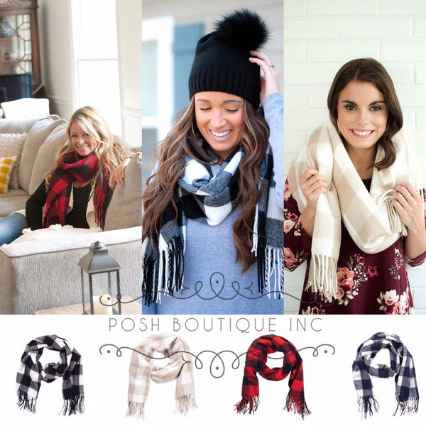 Monogrammed Scarf, Buffalo plaid Scarf, Gifts for Her, Adaline Scarf - PoshBoutiqueInc