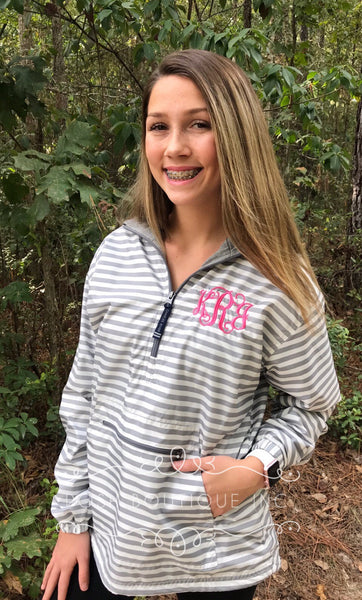 Monogram Rain Jacket, Windbreaker, Monogrammed Anorak Jacket, Bridesmaid gifts, Cheer jacket, Charles River Chatham Rain Jacket - PoshBoutiqueInc