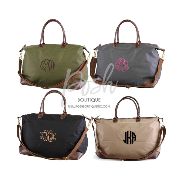 Monogrammed Nylon Weekender Bag, Personalized Weekender Bag, Bridesmaid Bags, Gifts for Her, Monogram Travel Bags - PoshBoutiqueInc