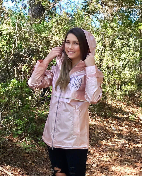 Monogrammed Rain Jacket, Rose Gold New Englander Rain Jacket, New Colors, Charles River Rain Jacket - PoshBoutiqueInc