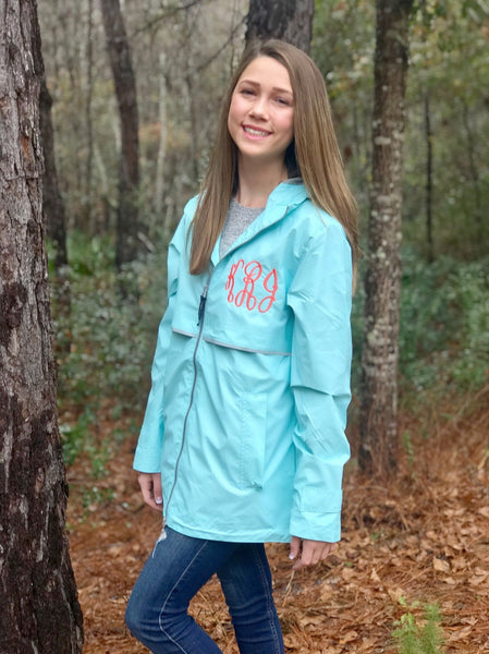 Monogrammed Charles River Rain Jacket - Ladies Rain Jacket - New Englander Rain Jacket - Monogrammed Full Zip Rain Coat - PoshBoutiqueInc
