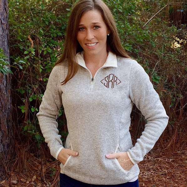 Monogrammed Fleece Quarter Zip Pullover, Heathered fleece Pullover, Charles River Quarter zip, Monogrammed Sweatshirt, Sweatshirt - PoshBoutiqueInc