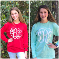 Monogram Long Sleeve Shirt tee shirt, Gifts Under 20, Bridesmaid Shirts, Monogrammed shirts for girls and women - PoshBoutiqueInc