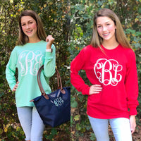 Monogram Shirt - Monogrammed Long Sleeve Shirt - Custom Tee Shirts - PoshBoutiqueInc