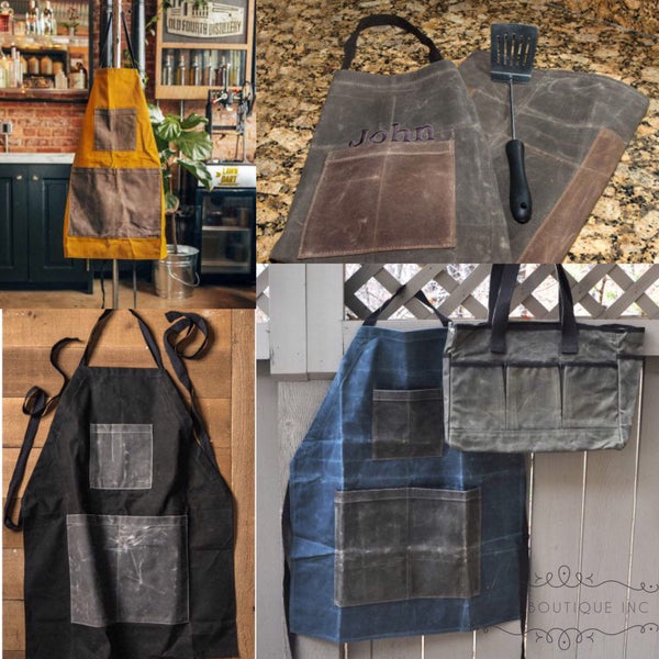 Monogrammed Apron, Barber Apron, Men's Aprons, Waxed Cotton Canvas Utility Apron, Personalized Aprons - PoshBoutiqueInc