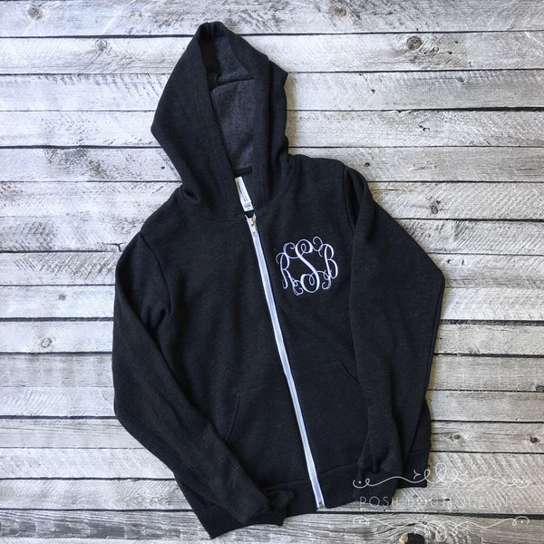 Monogrammed Hoodie, Monogrammed Full Zip Jacket, Bridesmaid Gifts, Bridal Party Gifts, Monogram Sweatshirt Jacket, Gifts for Her - PoshBoutiqueInc