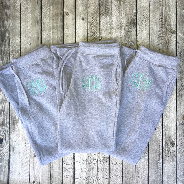 Monogrammed Sweatpants, Monogram Fleece Sweatpants, Ladies Sweatpants, Bridesmaid Gifts, Group Discounts, Bridal Party Sweatpants - PoshBoutiqueInc
