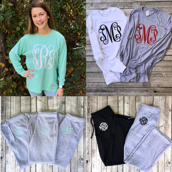 Monogrammed Sweatpant and Long Sleeve Tee Shirt Set, Monogram Shirt and Pants Set, Bridesmaid Gift Sets - PoshBoutiqueInc